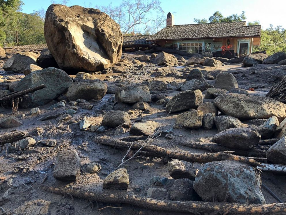 PHOTO: A large boulder rests near destroyed homes along San Ysidro Creek near East Valley Road in Montecito, Calif., Jan. 10, 2018.