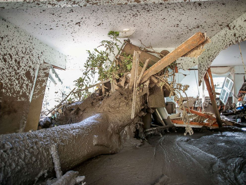 PHOTO: A property full of mud is seen after an avalanche of mud in Montecito, California, January 12, 2018.
