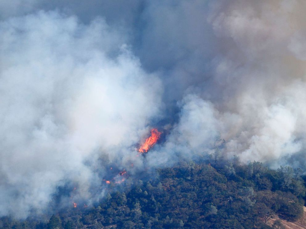 PHOTO: Massive flames from the Tubbs fire consume thick grasses and tall trees near Santa Rosa, Calif., Oct. 11, 2017.