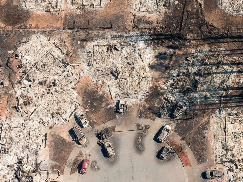 PHOTO: An aerial view shows a burned neighborhood seen in Santa Rosa, Calif., Oct. 12, 2017.