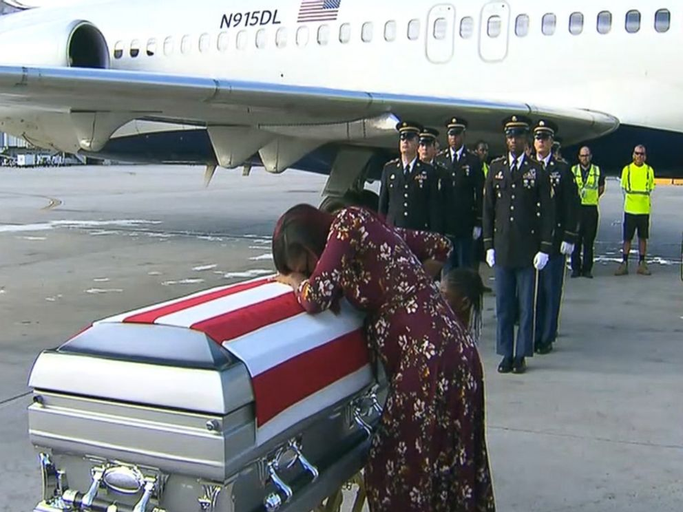 PHOTO: Myeshia Johnson sobs over the casket of fallen soldier and husband, Sgt. La David Johnson, who was killed in Niger.