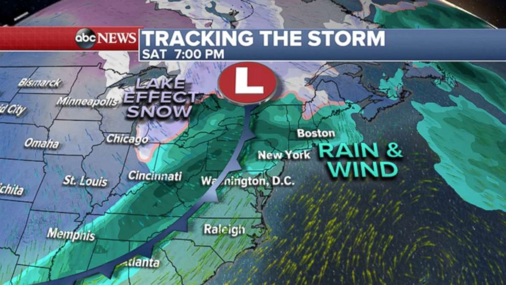 GRAPHIC: Storm affects Great Lakes to East Coast this weekend.