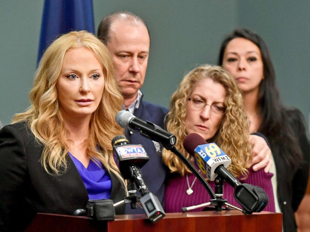 PHOTO: District Attorney Stacy Parks Miller (L) announces the findings of an investigation into the death of Penn State University fraternity pledge Tim Piazza during a news conference, May 5, 2017, in Bellefonte, Pa.