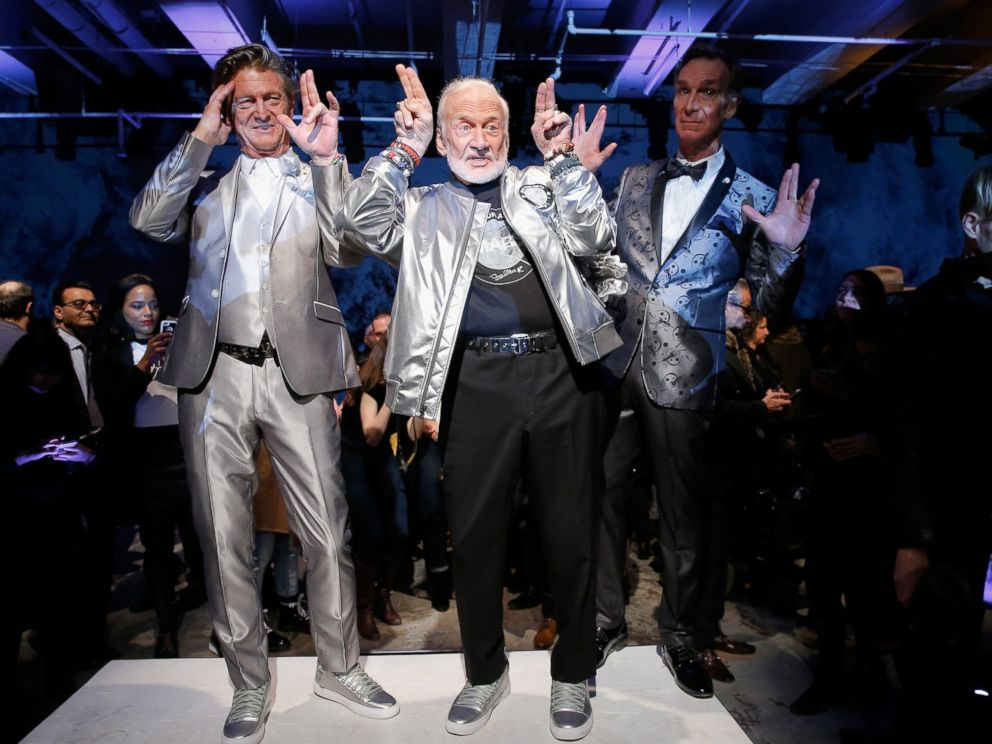 PHOTO: Nick Graham, Buzz Aldrin and Bill Nye pose on the runway at the Nick Graham NYFW Mens F/W 17 show on Jan. 31, 2017 in New York.