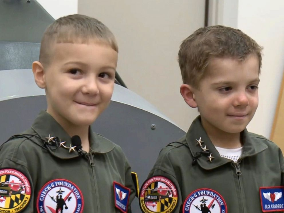 PHOTO: Jack Kirkbride, right, and Houston Pirrung, age 6 and dubbed the battle buddies, met while undergoing treatment for leukemia at Johns Hopkins Hospital in Baltimore.