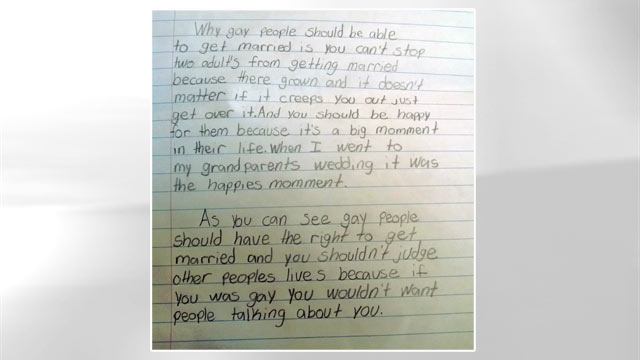 lgbt rights essay docoments ojazlink fourth grader s pro marriage essay goes viral abc news