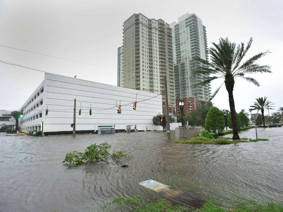 PHOTO: Street flooding is prevalent on the Southbank of downtown as Hurricane Irma passes by in Jacksonville, Fla., Sept. 11, 2017.