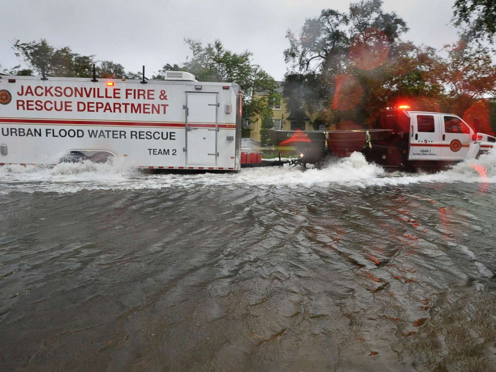 PHOTO: Urban Flood Water Rescue Team 2, with the Jacksonville Fire and Rescue Department, makes its way along San Marco Boulevard on the Southbank of downtown as Hurricane Irma passes by, Sept. 11, 2017, in Jacksonville, Fla.