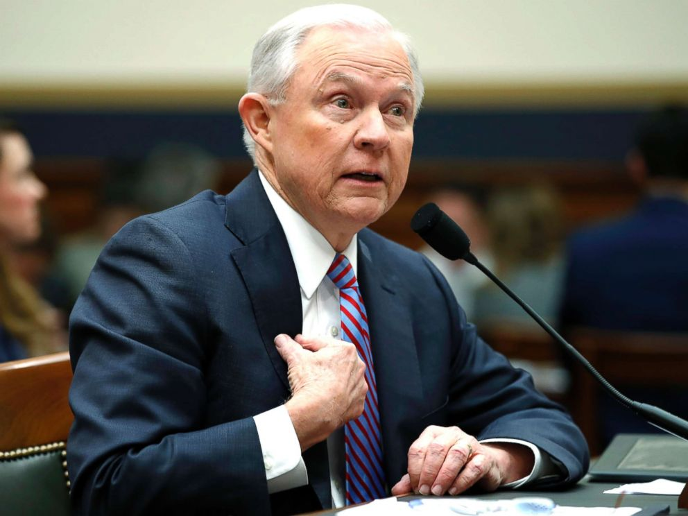 PHOTO: Attorney General Jeff Sessions speaks during a House Judiciary Committee hearing on Capitol Hill, Nov. 14, 2017.