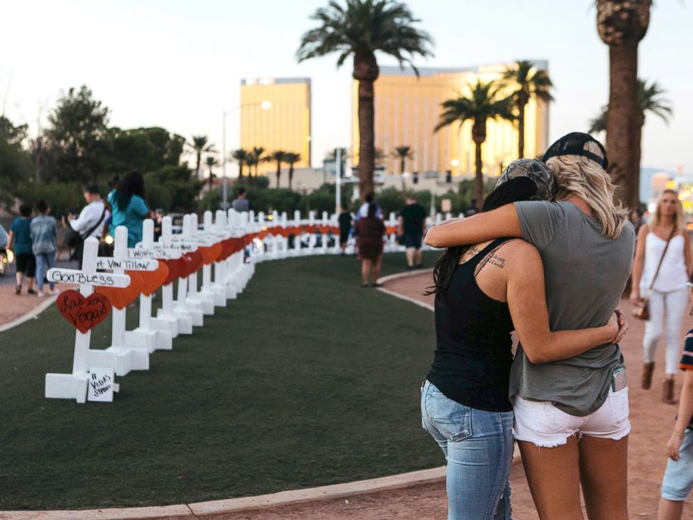 PHOTO: A memorial displaying 58 crosses by Greg Zanis stands at the Welcome To Las Vegas Sign in Las Vegas, Oct. 5, 2017.