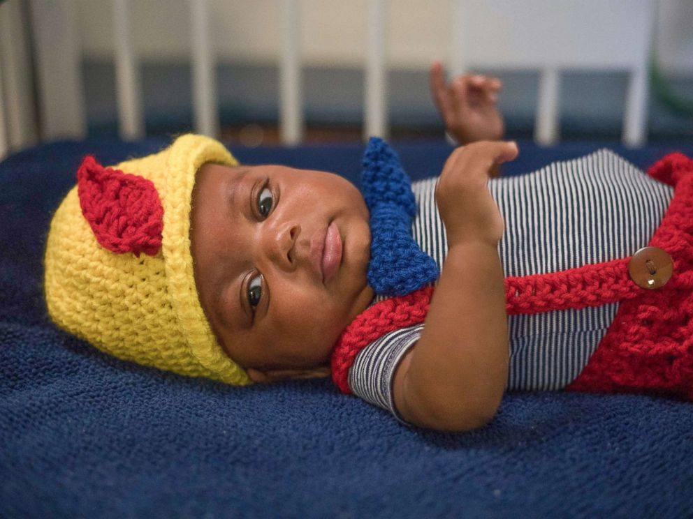 PHOTO: Nurse Tara Fankhauser knitted a Pinnochio costume for NICU patients as seen on baby Paxton.