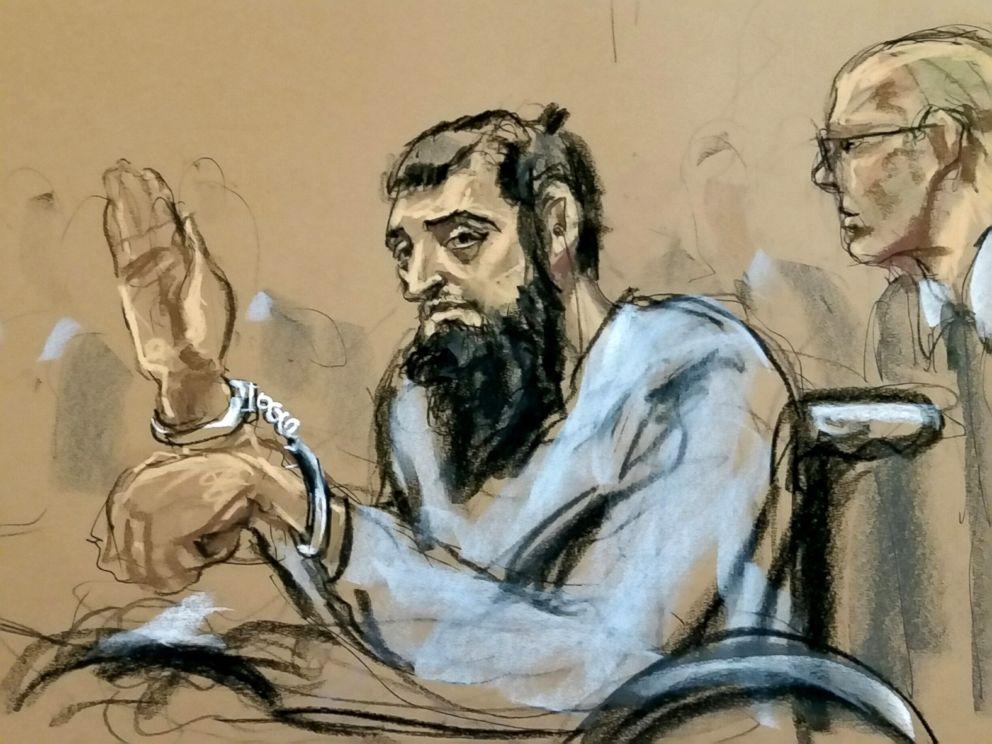 PHOTO: New York City terror suspect, Sayfullo Saipov, appears in federal court, Nov. 1, 2017, in New York City.