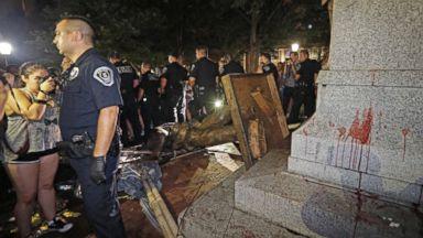 Protesters knock down Confederate statue on UNC campus