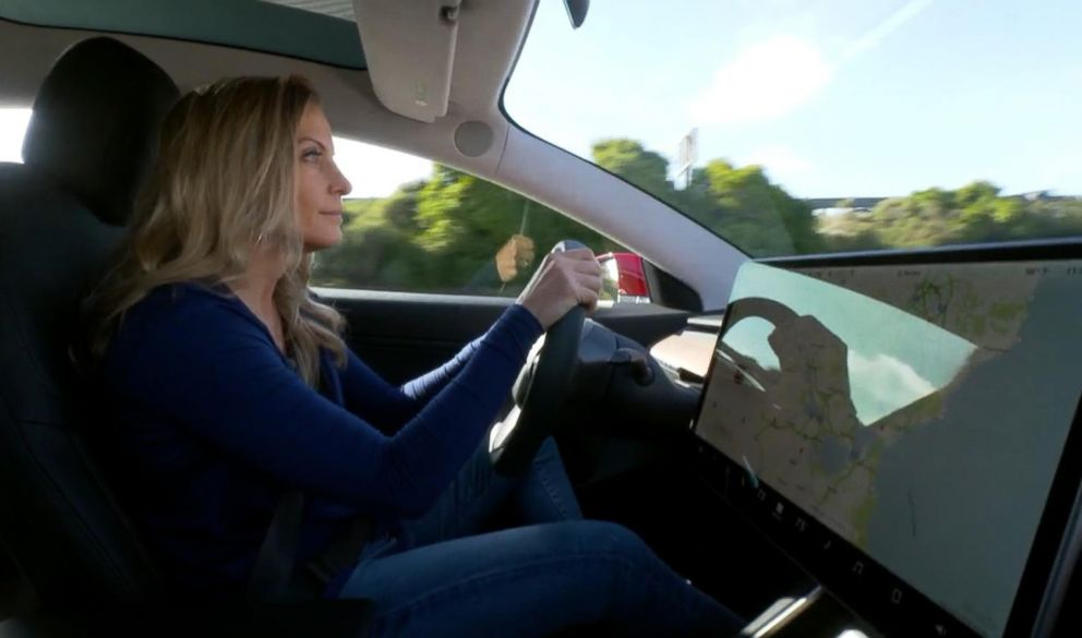 PHOTO: ABC News Becky Worley test-drives the Tesla Model 3, which is the companys first foray into mass-market cars.