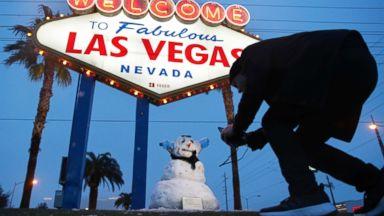 Las Vegas Strip sees rare snowfall as winter storm wallops Southwest
