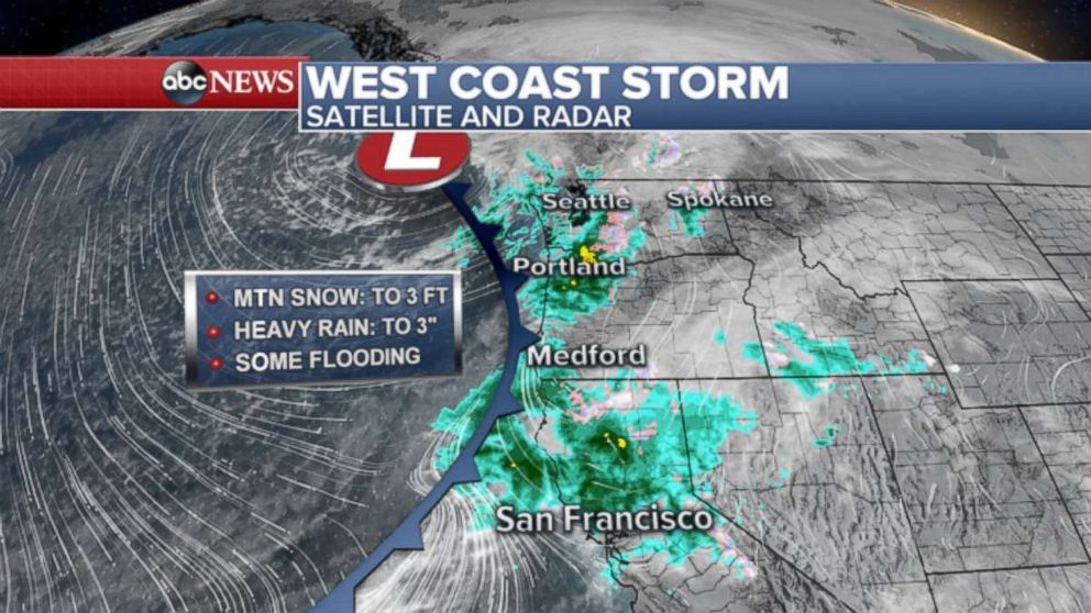 GRAPHIC: Major storm brings mountain snow, rain, wind and flooding to West Coast.