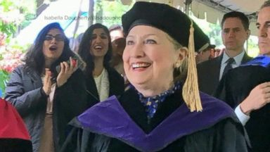Hillary Clinton speaks to graduating students at her alma mater