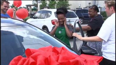 A Starbucks employee who is about to start college is surprised with a free car