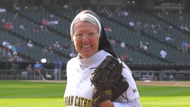 Nun throws the perfect pitch before Royals-White Sox game