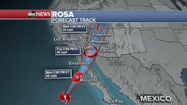 Tropical Storm Rosa set to hit the Baja Peninsula
