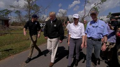 Trumps get firsthand look at hurricane's destruction