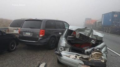 Fog blamed for multi-vehicle accident on California freeway