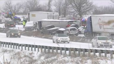 47 vehicles crashed in a pileup due to a snowstorm east of Kansas City